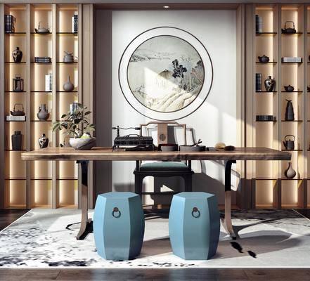 茶桌, 茶具组合, 墙饰, 置物柜