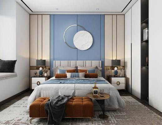 双人床, 床尾踏, 墙饰, 床头柜, 衣柜, 台灯