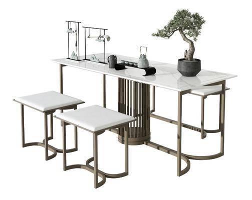 新中式茶桌凳子组合
