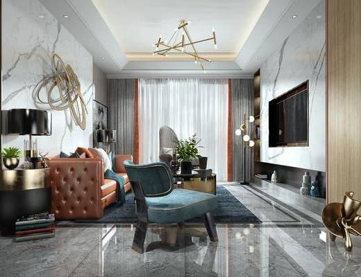 现代客厅, 轻奢客厅, 现代轻奢客厅, 沙发组合, 现代沙发茶几组合, 客厅