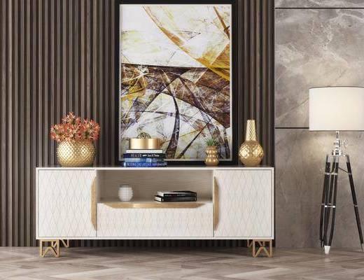电视柜, 摆件, 装饰品, 挂画, 花瓶花卉, 现代电视柜, 轻奢, 现代