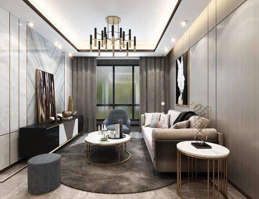现代客厅, 沙发组合, 沙发茶几组合, 吊灯, 茶几, 编辑, 电视柜