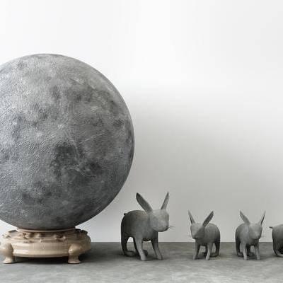 新中式月球玉兔石头雕塑装饰摆件, 新中式, 兔子, 石头, 摆件