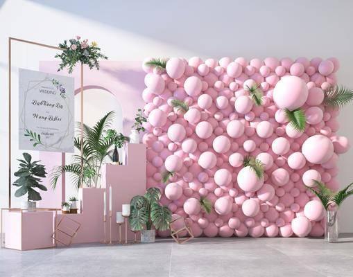现代合影气球墙