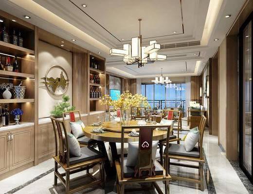 客厅, 餐厅, 新中式客餐厅, 沙发组合, 茶几, 桌椅组合, 餐桌, 餐具, 吊灯, 酒柜, 摆件组合, 花瓶花卉, 新中式