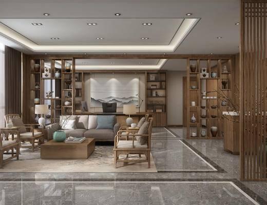 沙发组合, 背景墙, 单椅, 茶几, 边几, 台灯