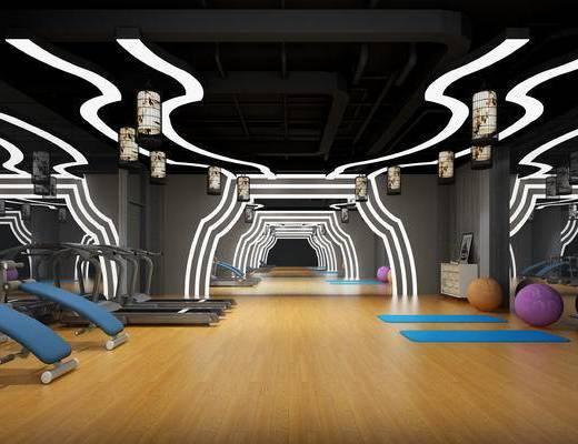 健身室, 瑜伽室, 健身房, 器材, 设备, 现代