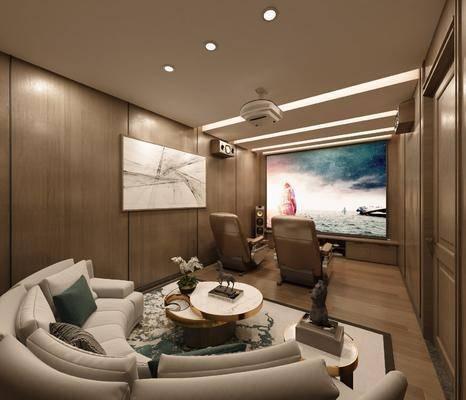 影音室, 沙发组合, 茶几, 摆件组合, 抱枕, 屏幕