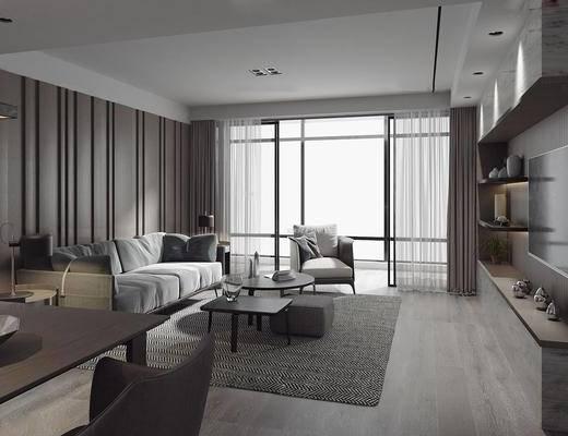 客厅, 餐厅, 现代, 沙发, 多人沙发, 单椅, 椅子, 休闲椅, 置物柜, 茶几, 边几, 摆件, 装饰品, 餐桌, 台灯, 吊灯