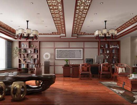办公室, 经理室, 中式, 新中式, 桌椅, 吊灯