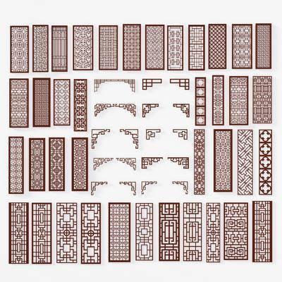 中式镀金雕花屏风镂空隔断通花组合, 中式花格, 隔断, 栅格, 屏风