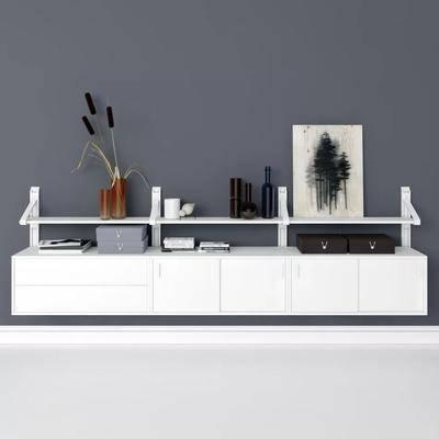 边柜, 矮柜, 摆件, 装饰品, 现代矮柜组合, 装饰画, 现代