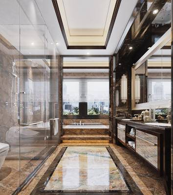 新中式, 酒店, 卫生间, 浴缸, 淋浴间, 洗手台, 现代