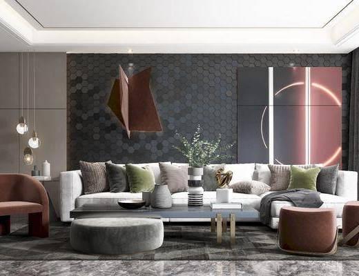 沙发, 茶几, 角几, 椅子, 凳子小吊灯, 挂画, 挂件, 装饰品