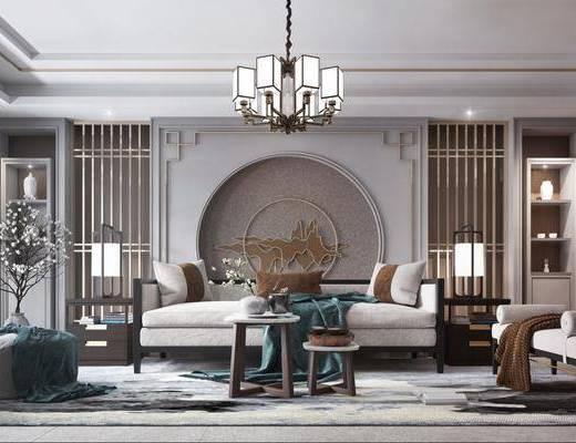客厅, 沙发组合, 沙发茶几组合, 台灯组合, 吊灯, 摆件组合, 装饰品, 陈设品, 花瓶花卉, 新中式