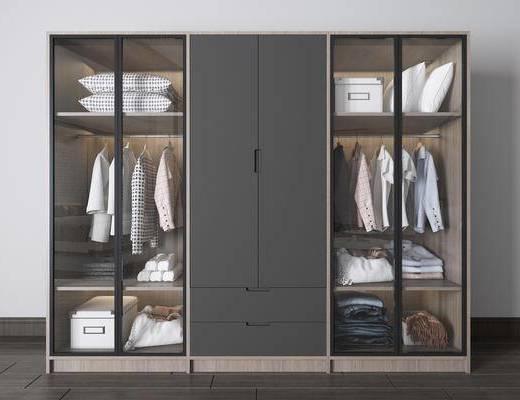 实木衣柜, 衣柜服饰组合, 装饰柜组合, 北欧