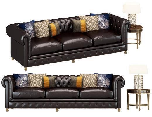 美式, 皮革, 沙发, 抱枕, 圆几, 台灯