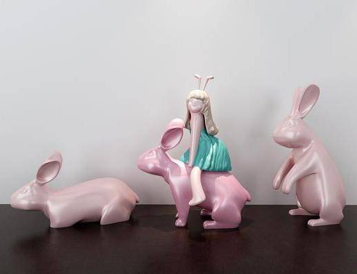 少女兔子, 陶瓷器皿, 陶瓷摆件, 摆件组合, 现代