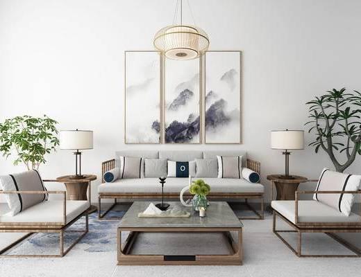 新中式, 沙发组合, 多人沙发, 沙发茶几组合, 吊灯, 装饰画, 盆栽, 边几, 台灯, 陈设品, 单人沙发
