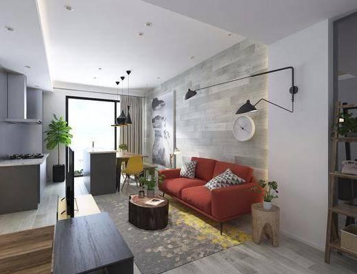 现代客厅, 现代餐厅, 客餐厅, 现代沙发, 沙发组合, 沙发茶几组合