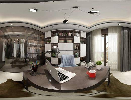 书桌, 书柜, 衣柜, 吊灯, 窗帘