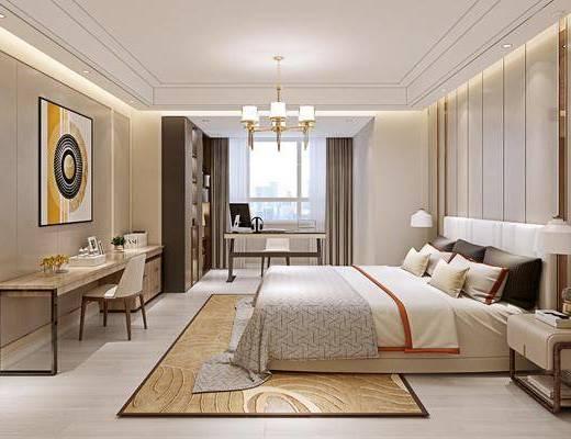 卧室, 双人床, 床头柜, 台灯, 书桌, 单人椅, 装饰画, 挂画, 吊灯, 电脑桌, 摆件, 装饰品, 陈设品, 现代