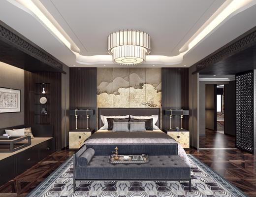 中式卧室, 床组合, 吸顶灯, 台灯