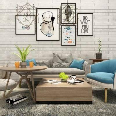 沙发茶几组合, 沙发组合, 双人沙发, 单人沙发, 现代沙发, 北欧沙发, 装饰画, 挂画, 茶几, 边几, 吊灯, 现代, 北欧