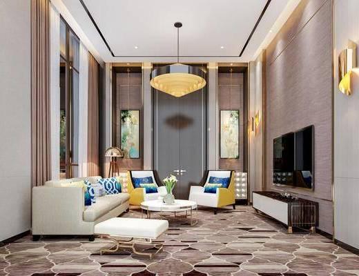 沙发组合, 吊灯, 电视柜, 电视, 壁灯