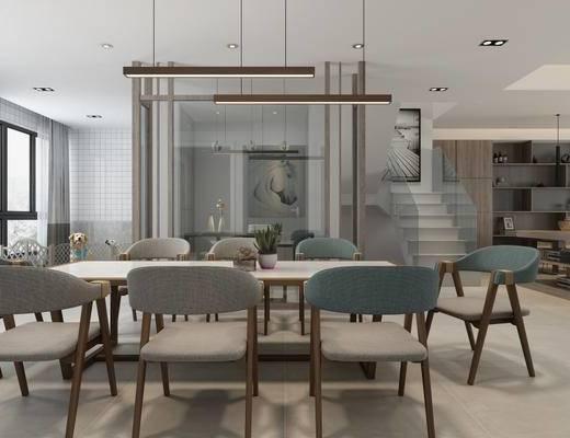 现代简约, 餐厅, 桌椅组合, 陈设品组合, 吊灯