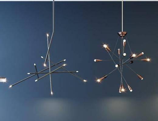 现代吊灯, 金属吊灯, 吊灯组合