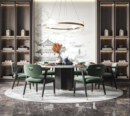 新中式�A形餐桌◇椅, 家�b