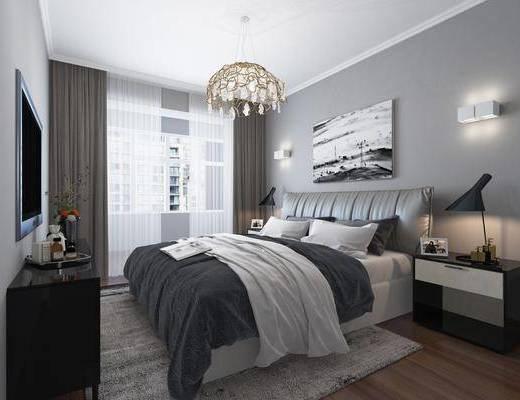 卧室, 床具, 现代卧室, 现代, 简约, 双人床, 床头柜, 台灯, 吊灯, 电视柜, 挂画, 装饰画, 摆件, 装饰品