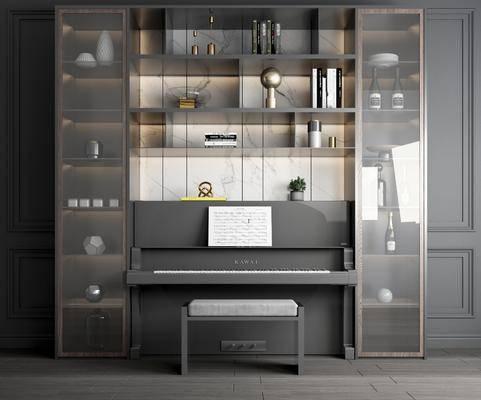 酒柜, 装饰柜, 置物柜, 摆件组合