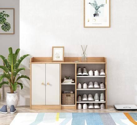 鞋柜, 柜架组合, 鞋袜, 植物