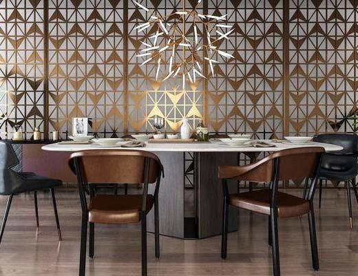 桌椅组合, 餐桌椅, 餐桌, 餐椅, 单人椅, 餐具, 吊灯, 盆栽, 绿植植物, 现代