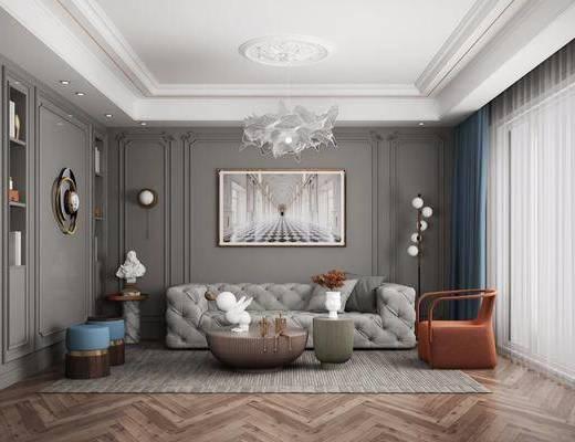 沙发组合, 吊灯, 装饰画, 墙饰, 单椅