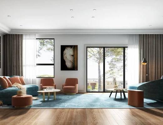 简欧, 简欧客厅, 简欧沙发, 沙发组合, 沙发茶几组合, 地毯