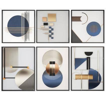 装饰画组合, 挂画组合, 立体画组合, 现代
