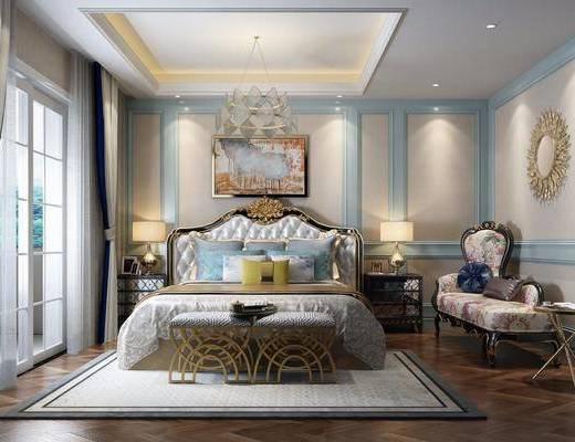 卧室, 躺椅, 双人床, 床尾凳, 装饰画, 挂画, 吊灯, 墙饰, 床头柜, 台灯, 美式