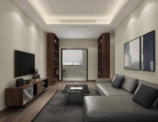 休息室, 双人沙发, 转角沙发, 茶几, 装饰画, 挂画, 电视柜, 边柜, 装饰柜, 装饰品, 陈设品, 现代