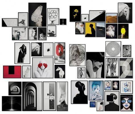 照片墙, 装饰画, 挂画组合, 现代简约