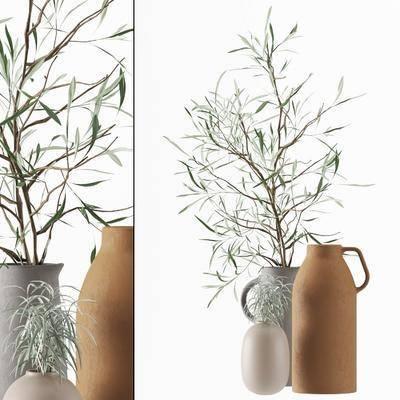 绿植橄榄枝, 花瓶花卉, 北欧