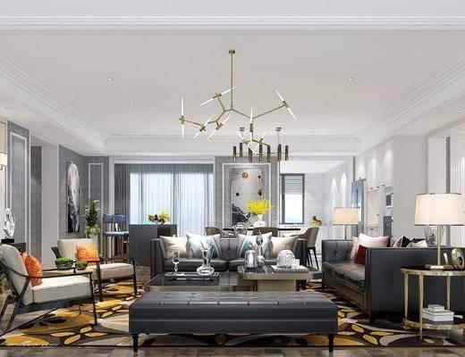 后现代客餐厅, 后现代, 客厅, 现代吊灯, 装饰画, 皮沙发, 皮革沙发, 电视柜