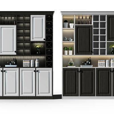 酒柜, 装饰柜, 摆件, 现代
