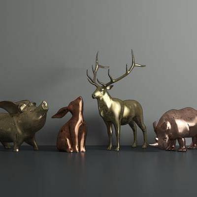 摆件组合, 现代摆件, 金属, 动物, 雕塑, 现代