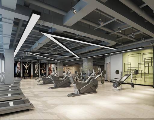 健身房, 健身器材, 工业风