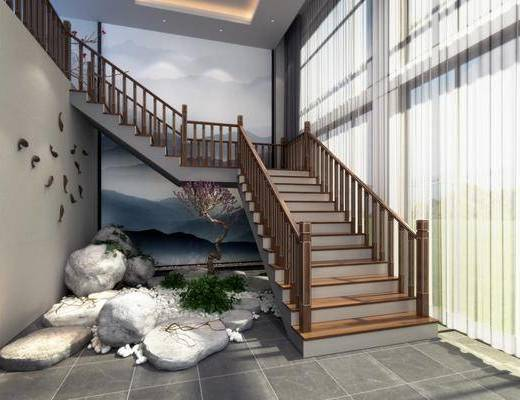 ?#30340;?#27004;梯, 楼梯栏杆, 石头, 树木, 花卉, 墙饰, 绿植植物, 中式