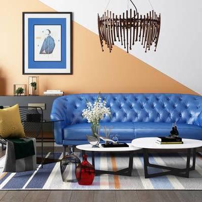 沙发茶几组合, 沙发组合, 吊灯, 装饰画, 边柜, 茶几