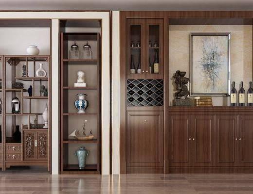 酒柜, 装饰柜, 装饰架, 摆件, 装饰品, 陈设品, 中式